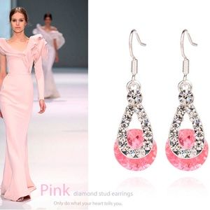 Jewelry - Pink Austrian Crystal Teardrop Dangle Earrings